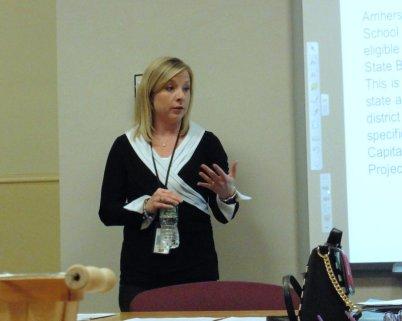 Deborah Custodi at Alumni Foundation Meeting discussing Capital Improvement Project